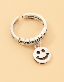 Fashion Silver Smiley Openwork Chain Open Ring