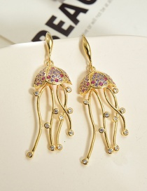 Fashion Golden Copper Inlaid Zircon Jellyfish Hollow Earrings