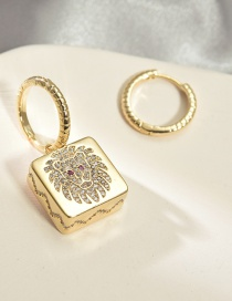 Fashion Golden Asymmetrical Square Lion Head Earrings With Copper And Zircon