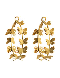 Fashion Golden Butterfly Alloy Geometric Round Hollow Earrings