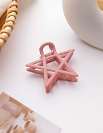 Fashion Pink (star Style) Frosted Doudou Five-pointed Star Resin Hollow Geometric Grip