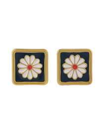 Fashion Square Section (one Flower) Small Daisy Enamel Embossed Geometric Earrings