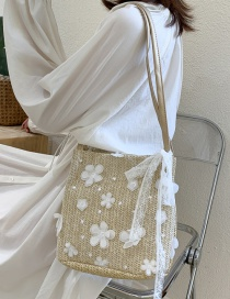 Fashion Khaki Straw Lace Flower Shoulder Bag