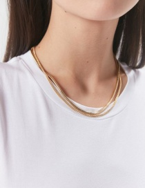 Fashion Golden Snake Chain Flat Pressed Chain Short Alloy Multilayer Necklace