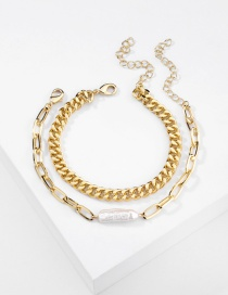 Fashion Golden Natural Freshwater Long Pearl Chain Alloy Multi-layer Bracelet
