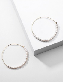 Fashion White Natural Freshwater Pearl Geometric Round Alloy Earrings