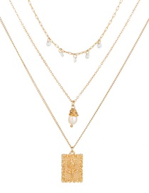 Fashion Golden Natural Rice Bead Square Rose Pearl Multilayer Necklace