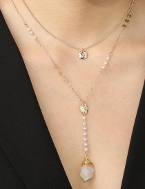 Fashion White Shaped Transparent Natural Stone Pearl Double Necklace