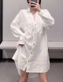 Fashion White Linen V-neck Long Loose Shirt