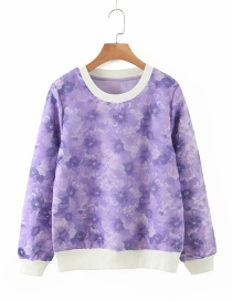 Fashion Purple Eugen Yarn Stitching Double-layer Contrast Sweater