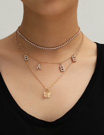Fashion Golden Butterfly Claw Chain Alphabet Handmade Diamond Multilayer Necklace