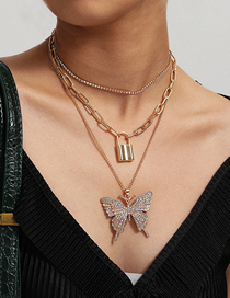 Fashion Golden Geometric Lock Chain Large Butterfly Micro Inlay Multi-layer Necklace