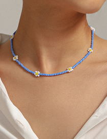 Fashion Blue Handmade Beaded Daisy Weave Flower Geometric Necklace