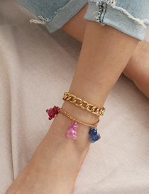 Fashion Golden Thick Chain Contrast Acrylic Bear Anklet