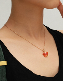 Fashion Gold (orange Butterfly) 3005 Streamer Geometric Glass Butterfly Necklace