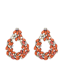 Fashion Red Geometric Diamond Earrings