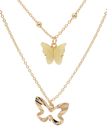Fashion Yellow Alloy Butterfly Resin Hollow Multi-layer Necklace