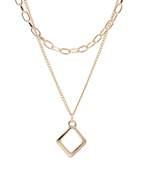Fashion Golden Geometric Hollow Alloy Multi-layer Necklace