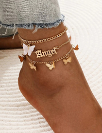 Fashion White Alloy Butterfly Resin Alphabet Multilayer Anklet