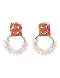 Fashion Red Geometric Pearl And Diamond Hollow Alloy Earrings