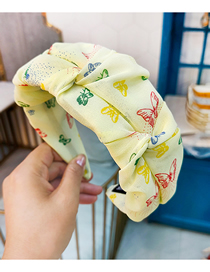 Fashion Yellow Flower Bud Pleated Wide-brimmed Butterfly Print Headband