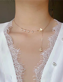 Fashion Golden Butterfly Pearl Alloy Tassel Necklace