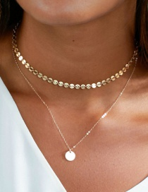 Fashion 14k Gold Titanium Steel Gold Plated Geometric Round Double Necklace