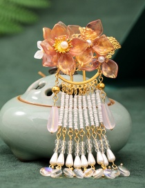 Fashion Yellow Beaded Tassel Hairpin With Imitation Jade Flowers And Pearls