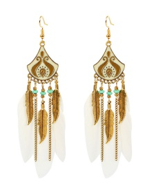 Fashion White Feather Rice Beads Water Drop Tassel Alloy Earrings