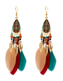 Fashion Color Mixing Feather Drop Oil Drop Bead Alloy Earrings