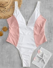 Fashion Pink Stitching Contrast One-piece Swimsuit