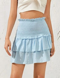 Fashion Blue High-waist A-shaped Pleated Wood Ear Cake Skirt