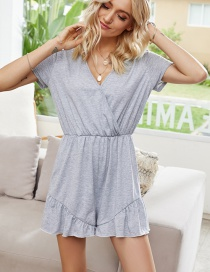 Fashion Lace V-neck Loose Wood Ear Jumpsuit