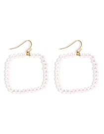 Fashion Pearl White Pearl Alloy Square Earrings