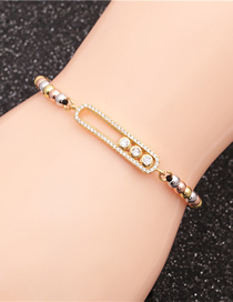 Fashion Oval Colorful Bead Chain Braided Bracelet With Diamond Oval Round Handle
