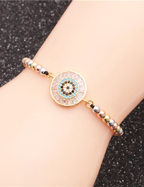 Fashion Round Handle Blue Colorful Bead Chain Braided Bracelet With Diamond Oval Round Handle