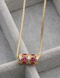 Fashion Cylindrical Love Gold Micro-set Zircon Love Column Hanging Necklace