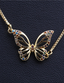 Fashion Butterfly Cutout Micro Inlay Zircon Butterfly Pixiu Puppy Bat Hanging Necklace