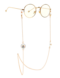 Fashion Golden Non-slip Golden Eyes Pearl Rhinestone Glasses Chain