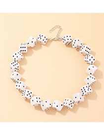 Fashion White Dice Resin Square Drop Alloy Necklace