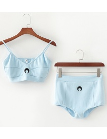 Fashion Blue Embroidered Moon Camisole Shorts Set
