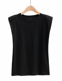 Fashion Black Loose Shoulder Pad Round Neck Pullover T-shirt