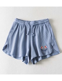 Fashion Blue Gray Flag Embroidered Lace-up Straight Shorts