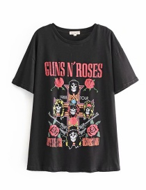 Fashion Black Gun And Rose Skull Print T-shirt