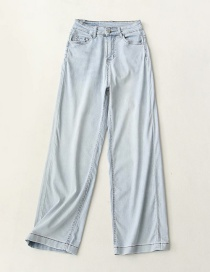Fashion Blue Washed Ice Oxygen Bar Wide-leg Jeans