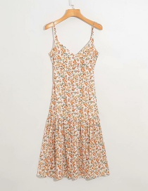 Fashion Beige Strap Floral Print Halter Lace Dress