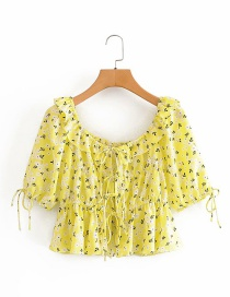 Fashion Yellow Watermark Floral Puff Sleeve Shirt