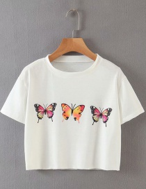 Fashion White Butterfly Print Crew Neck T-shirt
