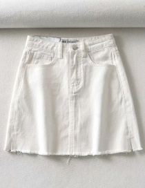 Fashion White Raw A-line Denim Skirt