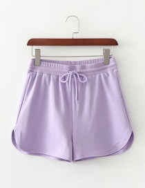 Fashion Purple Elastic Waist Tie Straight Leg Pants